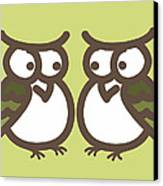 Twin Owl Babies- Nursery Wall Art Canvas Print by Nursery Art
