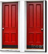 Twin Red Doors Canvas Print by Olivier Le Queinec