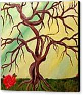 Twisted Tree And Roses Canvas Print