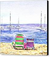 Two Chairs On The Beach Canvas Print