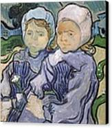Two Little Girls Canvas Print by Vincent Van Gogh