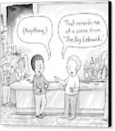 Two Men At A Bar Discuss The Big Lebowski Canvas Print by Tom Toro