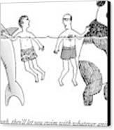 Two Men Swim In The Ocean.  One Man Swims Canvas Print