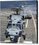Two Mh-60s Sea Hawk Helicopters Take Canvas Print