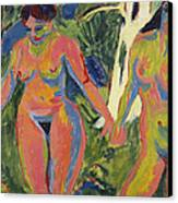 Two Nude Women In A Wood Canvas Print by Ernst Ludwig Kirchner