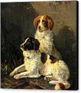 Two Spaniels Waiting For The Hunt Canvas Print by Henriette Ronner Knip
