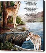 Two Wolves- Poster Canvas Print by Dorothy Riley