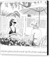 Two Women Speak At A Cafe Speak Canvas Print by Trevor Spaulding