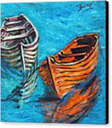 Two Wood Boats Canvas Print by Xueling Zou
