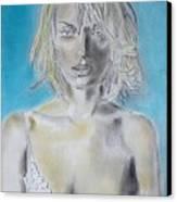 Uma Thurman Portrait Canvas Print by Dan Twyman