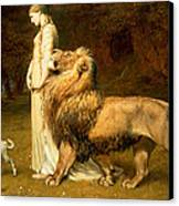 Una And Lion From Spensers Faerie Queene Canvas Print by Briton Riviere