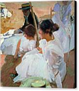 Under The Parasol Canvas Print by Joaquin Sorolla y Bastida
