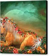 Unicorn Of The Roses Canvas Print by Carol Cavalaris