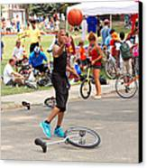 Unicyclist - Basketball - Street Rules  Canvas Print