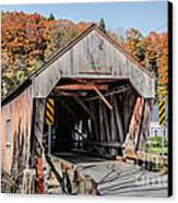Union Village Covered Bridge Thetford Vermont Canvas Print by Edward Fielding