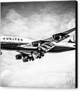 United Airlines Boeing 747 Airplane Black And White Canvas Print