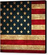 United States American Usa Flag Vintage Distressed Finish On Worn Canvas Canvas Print by Design Turnpike