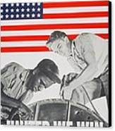 United We Win Us 2nd World War Manpower Commission Poster Canvas Print by Anonymous