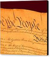 Us Constitution Closest Closeup Red Brown Background Larger Sizes Canvas Print