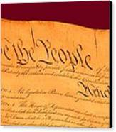 Us Constitution Closest Closeup Violet Red Background Canvas Print