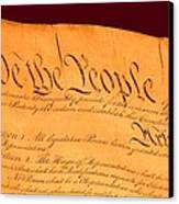 Us Constitution Closeup Red Brown Background Canvas Print by L Brown