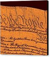 Us Constitution Closeup Sculpture Brown Background Canvas Print by L Brown