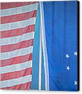 Us Flag And Conch Republic Flag Key West  - Panoramic - Hdr Style Canvas Print by Ian Monk