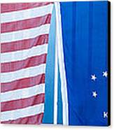 Us Flag And Conch Republic Flag Key West  - Panoramic Canvas Print by Ian Monk