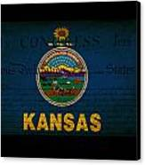 Usa American Kansas State Map Outline With Grunge Effect Flag An Canvas Print