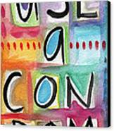 Use A Condom Canvas Print by Linda Woods