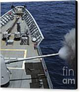 Uss Philippine Sea Fires Its Mk 45 Canvas Print by Stocktrek Images