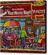 Van Horne Bagel With Yangtze Restaurant Montreal Street Scene Canvas Print by Carole Spandau