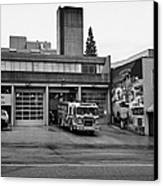 Vancouver Fire Rescue Services Truck Engine Outside Hall 2 In Downtown Eastside Bc Canada Canvas Print by Joe Fox