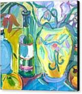 Vase And Bottles In Still Life Canvas Print