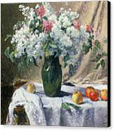 Vase Of Flowers Canvas Print by Henri Lerolle