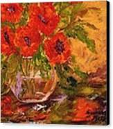 Vase Of Poppies Canvas Print by Barbara Pirkle