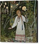 Vassilissa In The Forest Canvas Print by Ivan Bilibin