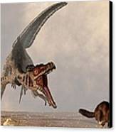 Velociraptor Chasing Small Mammal Canvas Print by Daniel Eskridge
