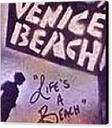 Venice Beach To Santa Monica Pier Canvas Print by Tony B Conscious