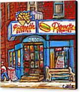 Verdun Famous Restaurant Pierrette Patates - Street Hockey Game At 3900 Rue Verdun - Carole Spandau Canvas Print