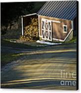 Vermont Maple Sugar Shack Sunset Canvas Print by Edward Fielding