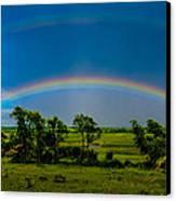 Vernon Marsh Double Rainbow Canvas Print by Randy Scherkenbach