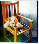 Vertical Of Dog In Kid Chair. Canvas Print