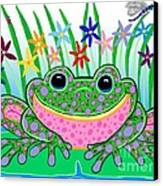 Very Happy Spotted Frog Canvas Print by Nick Gustafson