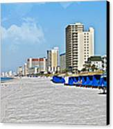 View Down A Quiet Beach Canvas Print by Susan Leggett