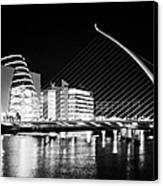 View Of The Samuel Beckett Bridge Over The River Liffey And The Convention Centre Dublin At Night Du Canvas Print by Joe Fox