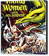 Viking Women And The Sea Serpent Poster Canvas Print by Gianfranco Weiss