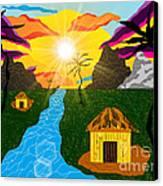 Village Under A Vibrant Sky Canvas Print by Lewanda Laboy
