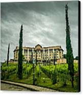 Vineyards And Chateau Canvas Print by Fabio Giannini