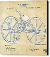 Vintage 1869 Velocipede Bicycle Patent Artwork Canvas Print